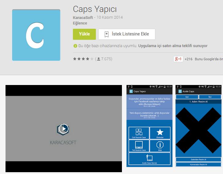 Caps Yapıcı Android caps yapan uygulama