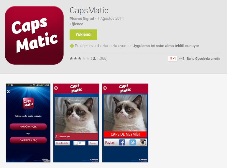 Android Caps Yapma Uygulaması : CapsMatic